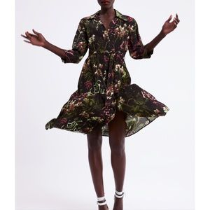 Zara Floral Print Button Dress Black V-neck
